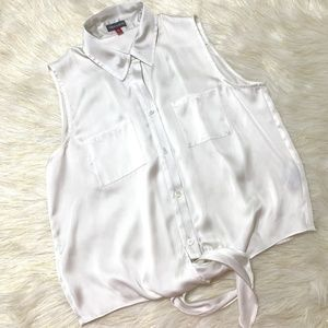 VINCE CAMUTO WOMEN'S IVORY  BUTTON-DOWN BLOUSE S